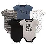 Yoga Sprout unisex baby Cotton Bodysuits Bodysuit, Wild One Short Sleeve 5 Pack, 18-24 Months US