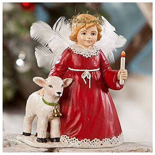 """Bethany Lowe 5"""" Christmas Red Angel Feather Wing Lamb Retro VNTG Decor Figurine"""