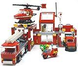 Modbrix Estación de bomberos con bloques de construcción, gran City bomberos, guardia con carro de escalera, carro guía de uso y helicóptero de bomberos