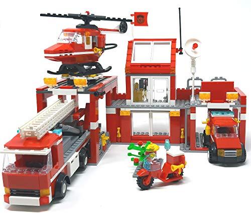 Modbrix Bausteine Feuerwehrstation,Große City Feuerwehr Wache mit Leiterwagen, Einsatzleitwagen und Feuerwehr Hubschrauber
