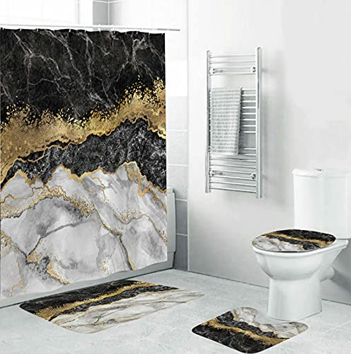 4 Piece Black Marble Shower Curtains Sets with Non-Slip Rugs,Toilet Lid Cover and Bath Mat,Bathroom Sets with Shower Curtain and Rugs and Accessories