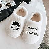 ypyrhh Zapatos de piel sintética de interior, bolsa caliente y zapatillas de pareja, zapatillas de algodón de felpa de interior - White girl_44-45, acogedor Coral Fleece Slip-on Casa Zapatos con Anti