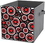 Caja de almacenamiento plegable cuadrada para cubo de almacenamiento, organizador duradero, moderno negro, blanco, rojo con círculos