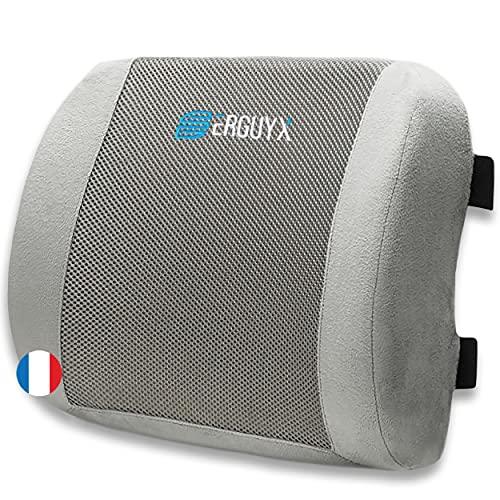 Erguyx Coussin de Soutien Lombaire Ergonomique - Support de Dos pour Chaise de Bureau ( Maison,...