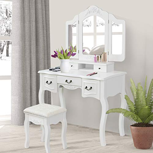 Giantex Vanity Table Set with Mirror and Stool, Tri Folding for Makeup Multifunctional Writing Desk Organizer Removable Top, Large Room Vanities Dressing Tables with 5 Drawers (White)
