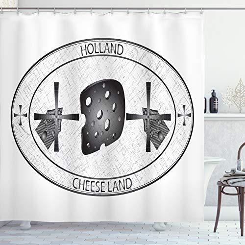 ABAKUHAUS Nederlands Douchegordijn, Kaas Land Holland Windmolen, stoffen badkamerdecoratieset met haakjes, 175 x 220 cm, Wit en Grijs
