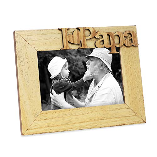 "Isaac Jacobs Natural Wood Sentiments ""I Love Papa"" / I Heart Papa Picture Frame, 4x6 inch, Photo..."
