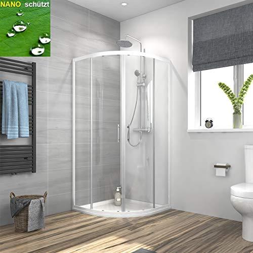 Duschkabine 90x90cm Eckeinstieg Runde Dusche mit Schiebetür, Duschkabine Weiß Rahmen Duschabtrennung Duschtür Duschwand Glas 6mm ESG Sicherheitsglas mit Nano-Beschichtung, Höhe 185cm Radius 55cm