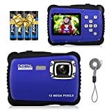 Kids Digital Camera,IP54 Waterproof Point and Shoot Cameras Compact Video Camera with Flash,8X Digital Zoom, Children's Selfie Cameras for 3-12 Year Old Boys Girls Christmas Birthday Gifts