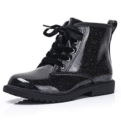 FITORY Girls Glitter Ankle Boots, Lace Up Waterproof Combat Shoes with Side Zipper for Little Kid/Big Kid Black Gypsophila Size 4