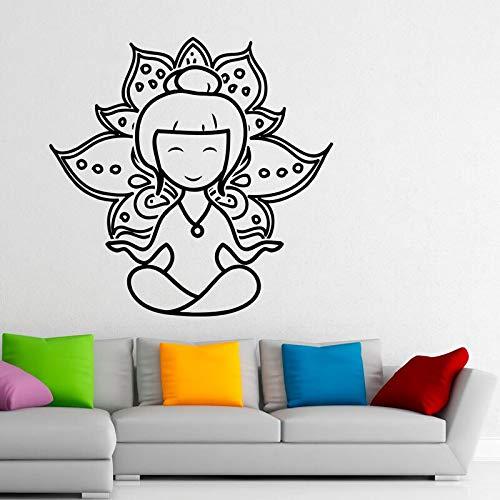 yaonuli Yoga Lotus Wandaufkleber Meditation abnehmbare Wohnkultur Wandaufkleber Wohnzimmer 48X42cm