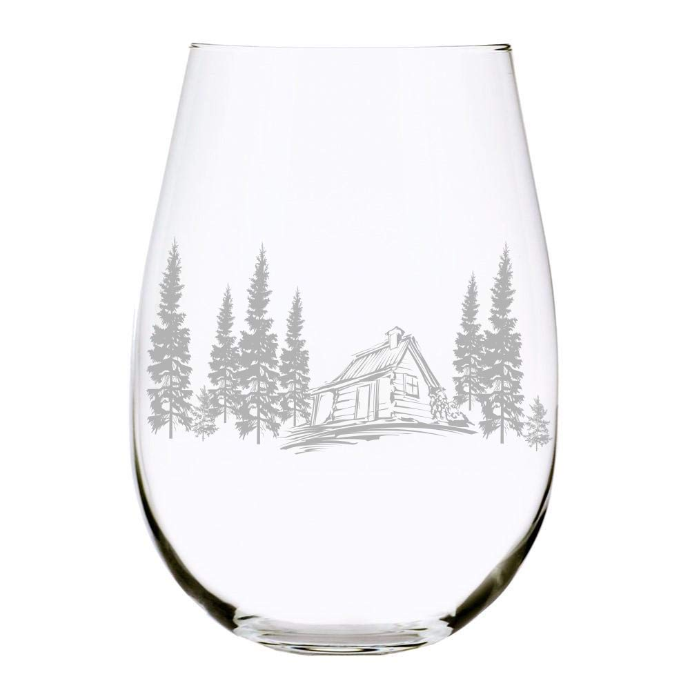 C M Cabin in the woods stemless wine glass, 17 oz.