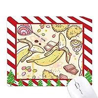 バナナ果実のイラストのカラフルなパターン ゴムクリスマスキャンディマウスパッド