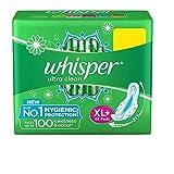 Whisper Ultra Clean Sanitary Pads for Women, XL+ 44 Napkins