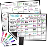 Magnetic Dry Erase Chore Chart and Calendar Bundle for Fridge: 2 Boards Included - 17x12' - 6 Fine Tip Markers and Large Eraser with Magnets, Refrigerator White Board Wall Chores Chart for Kids
