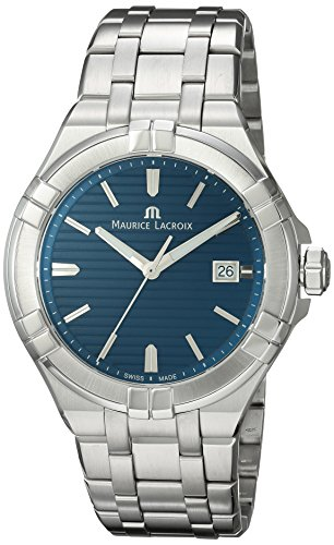 Maurice Lacroix Men's Aikon Swiss Quartz Watch with Stainless Steel Strap, Silver, 22 (Model: AI1008-SS002-431-1)