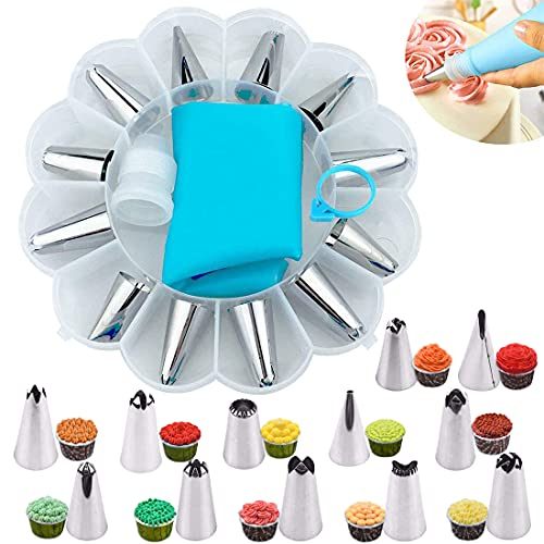 YOUYIKE Set Decoración de Pasteles 14PCS, Torta: boquillas grandes, acoplador, manga pasteleras de silicona 35 cm