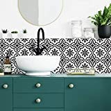 RoomMates Ornate Black And White Tile Backsplash Peel And Stick Giant Wall Decal, Easy Bathroom or Kitchen Backsplash