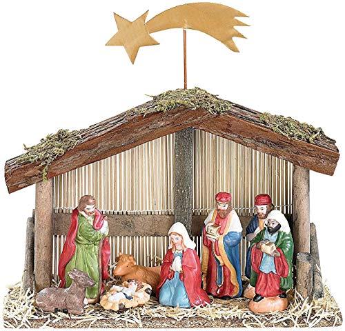 PEARL Weihnachtskrippe: Weihnachts-Krippe (10-teilig) mit handbemalten Porzellan-Figuren (Weihnachtskrippen Figuren)