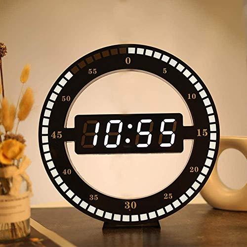 Dongbin Digitale Wanduhr, Uhr Kreative LED-Display Elektronisches Licht Tischuhr Anzeige 24 Stunden Intelligent Light Induction Travel House Dekoration Amie,Schwarz