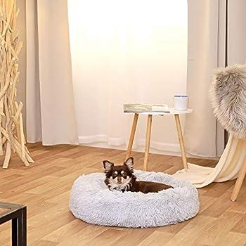 lionto by dibea Panier rond pour chien coussin pour chat panier donut Ø 50 cm (M) Gris clair
