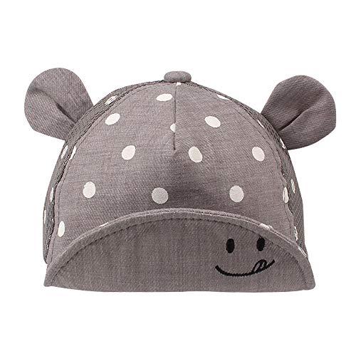 Pesaat - Gorra de algodón para bebé, para niña, niña, niño, sombrero de sol, ajustable, primavera, verano, 6 a 24 meses, gris de malla, 6-24 meses