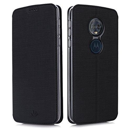 Eastcoo Handyhülle für Motorola Moto G6 Play Hülle PU Leder Flip Hülle Tasche Cover Schutzhülle mit [Standfunktion][Magnetic Closure][Wallet] für Motorola Moto g6 Play Smartphone (Black)