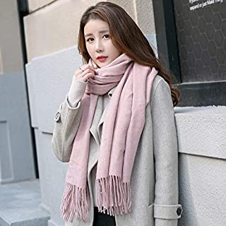 Winter Long Scarf Plush Solid Color Scarf Female Spring and Autumn Winter Winter Thick Long Shawl Dual-use Wild (Color : Blue) Winter Soft Scarf (Color : Pink)