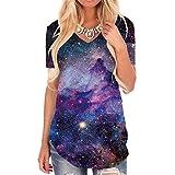 KYKU Galaxy T Shirts for Women Space Print Side Slit Curved Hem V Neck T-Shirts (S, Galaxy V Neck T-Shirts)
