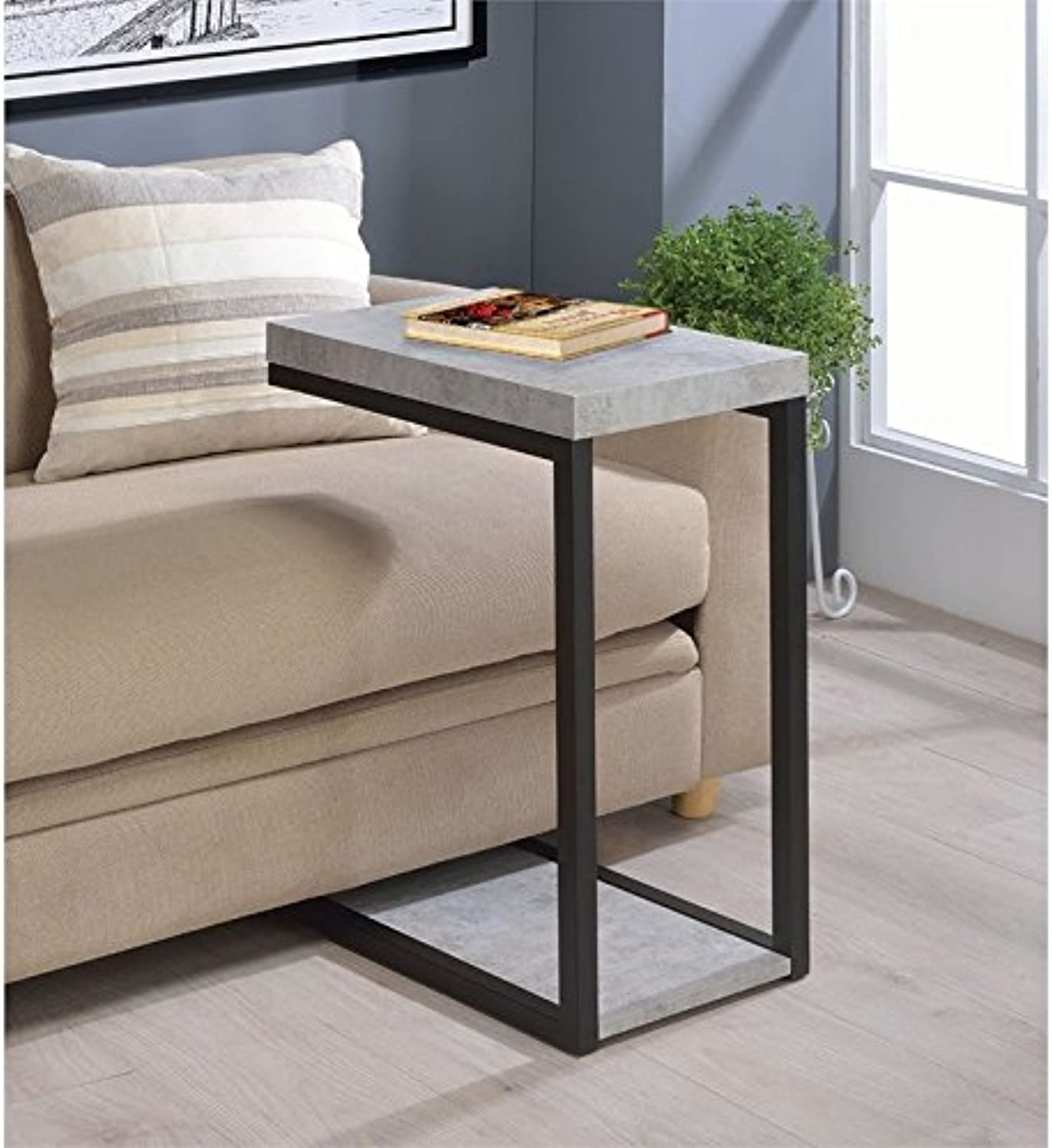 Bowery Hill End Table in Cement and Black