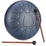 LENSUN Tongue Drum 6 Inches 8 Notes/10 Inches 11 Notes Chakra Tank Drum Hand Pan Drum Percussion Instrument with Drum Mallets and Travel Bag (10 Inch, Blue)