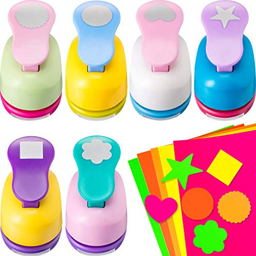 6 Pieces Craft Hole Punch 1 Inch Paper Punchers Scrapbook Punches