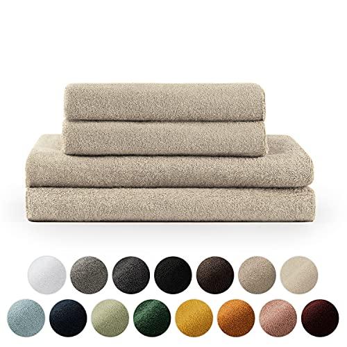 Blumtal Set de 2 Toallas de Baño (70x140cm) + 2 Toallas de Manos (50x100cm) - Toallas Suaves y Absorebentes, 100% algodón, Certificado Oeko-Tex 100, Arena 🔥
