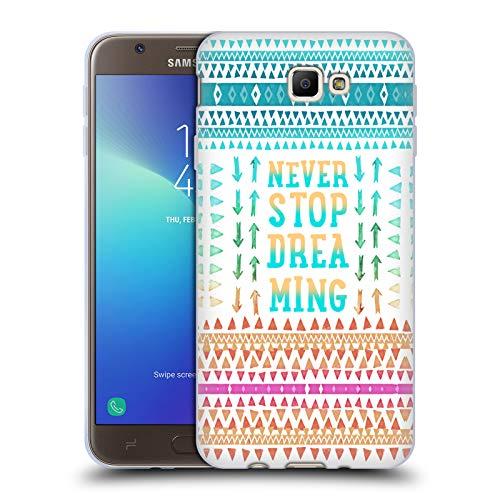 Head Case Designs Oficial Monika Strigel Nunca Dejes de soñar Cita Feliz Carcasa de Gel de Silicona Compatible con Samsung Galaxy J7 Prime 2 2018