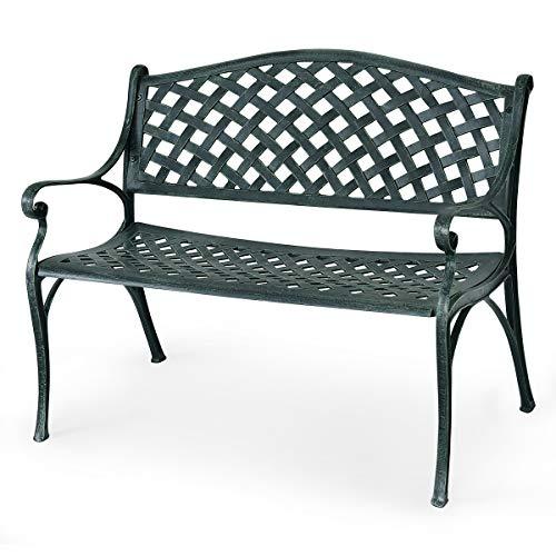 Giantex 40' Outdoor Antique Garden Bench Aluminum Frame Seats Chair Patio Garden Furni(Ancient Green)