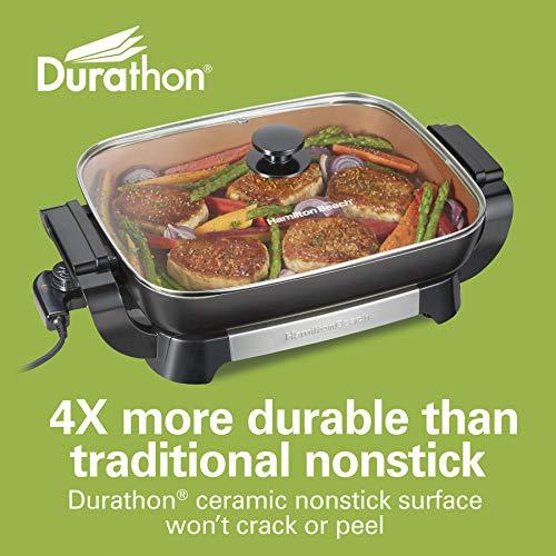 "Hamilton Beach Durathon Ceramic Electric Skillet with Removable 12x15"" Pan, Adjustable Temperature, Reversible Design, Tempered Glass Lid (38529K)"