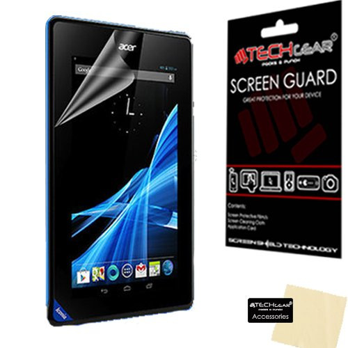 TECHGEAR Screen Protector for Acer Iconia B1 with Model no B1-A71 7' Tablet - Clear Lcd Screen Protector Guard with Cleaning Cloth & Application Card