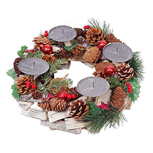 Mendler Adventskranz HWC-H49, Weihnachtsdeko Adventsgesteck Weihnachtsgesteck, Holz rund Ø 33cm ~ ohne Kerzen