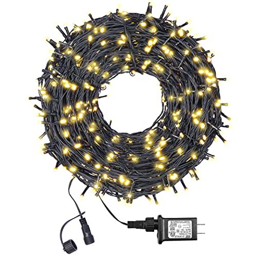 (New) FUNIAO Outdoor String Lights, 105ft 300 LED Christmas Tree Lights, Extendable Green Wire Fairy String Lights with 8 Modes for Xmas, Wedding, Bedroom, Porch Decor (Warm White)