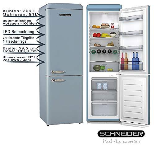Schneider Retro Kühl-Gefrierkombination SCB300V2BL Hellblau 300 Liter 189,9 cm EEK: A++