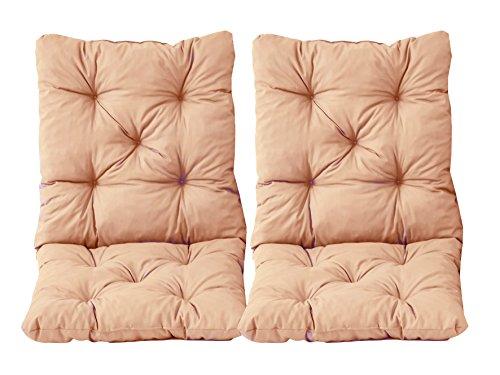 Ambientehome 2er Set Sitzkissen und Rückenkissen Sessel Hanko, Beige (apricot), ca 98x50 cm , Polsterauflage