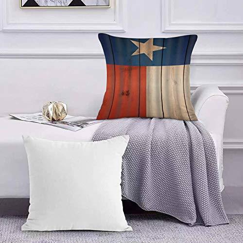 Ccstyle Moderne Dekorative Baumwolle Set Kissenbezug Texas Star Ivory Rot und Blau mit Holzmuster Digitaldruck, Kopfkissenbezug Pillowcase Kissen für Wohnzimmer Sofa Bed,50x50cm