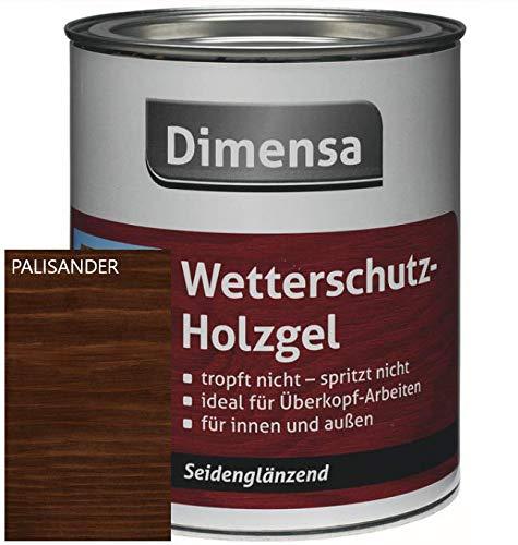 DIMENSA Wetterschutz Holzgel|Wetterschutzlasur|Holzschutz|Lasur für innen und außen|Premium Qualität | 0,75l - Palisander
