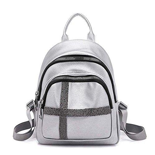 VHVCX Soft-Silber Marke Leder Rucksack Frauen Pailletten Patchwork Rucksack Teenager Schulranzen...