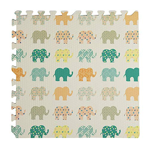 YOUR SELF SRL Alfombra Puzzle Elefante Paquete 4 uds. 60x60x0,8h cm