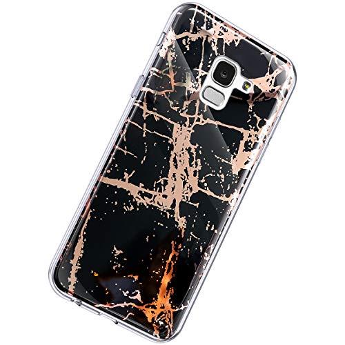 Herbests Kompatibel mit Samsung Galaxy J6 2018 Hülle Glänzend Glitzer Marmor Muster Schutzhülle Weich Silikon Ultra Dünn Handyhülle Handytasche Durchsichtige Silikon Hülle Case,Marmor Schwarz