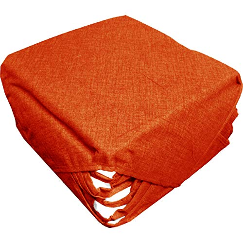 Russo Tessuti 6 Cuscini Sedie Cucina Coprisedia Imbottiti Tinta Unita Vari Colori Alette-Arancione
