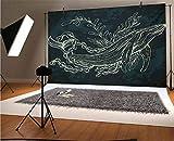 Fondos de vinilo para fotografía de Whale de 7 x 5 pies, silueta de ballena en estilo Doodle con arrecife de coral y algas marinas fondo para fotos de fondo, estudio de fotos, telón de fondo