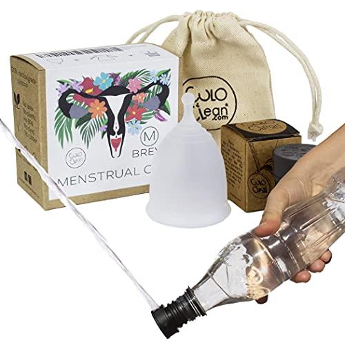 CuloClean Menstrual Cup Breva (M). Copa íntima talla M + bolsa + bidé portátil. Pack natural, de silicona médica suave, blanda, hipoalergénica y transparente.