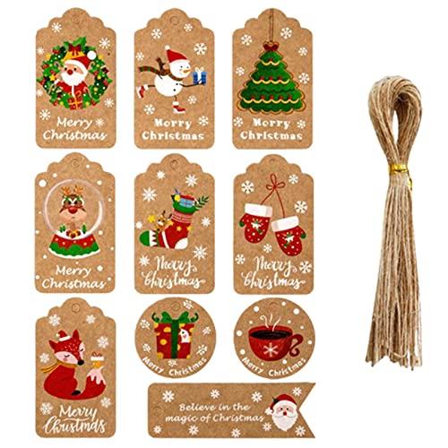 XIAOTIAN 50 Etiquetas, Etiquetas de Regalo de Papel Kraft de Navidad con 50 Cuerdas de Yute Gratis, Listas de empaque de Regalo para Fiesta de cumpleaños, Boda, Navidad, día de acción de g